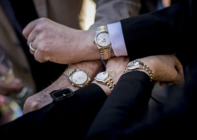 Pre-wedding: Groom-to-be with father and sisters – a family who shares the same taste in watches.