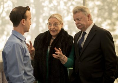 Pre-wedding: The mother of the bride-to-be enthusiastically explaining the wedding arrangements of the next day to her godson count Jaime de Suiza (left) and His Excellency the former Austrian Ambassador to Denmark Dr. Erich Buttenhauser.
