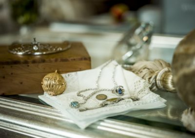 "Before the ceremony: Some of the jewelry of the Bride, including a silver sixpence for the shoe, as required in the ""something old, something new"" wedding rhyme."