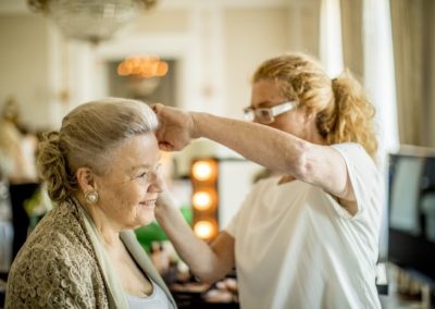 Before the ceremony: Mother-of the-Bride having her hair set.