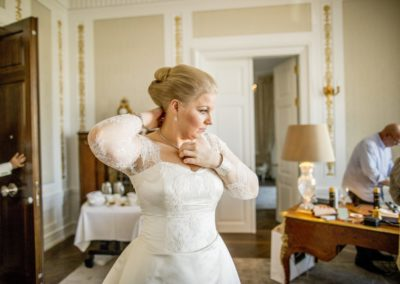 Before the ceremony: The Bride – about to leave the suite and head for the Church.