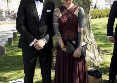 Before the ceremony: Old friend of the groom, Lars Andersen – with his fiancée, Josephine Justiniano.