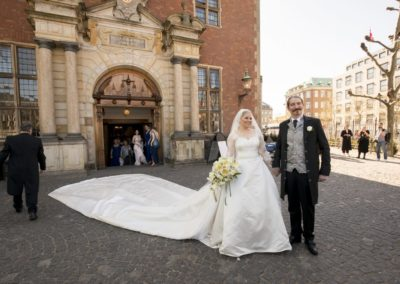The Wedding Ceremony: The newly wed couple after the ceremony – outside the church.