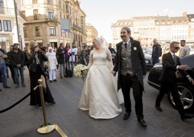 The Reception: The newly wed couple arriving at d'Angleterre.