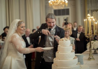 The Reception: Cutting the cake.