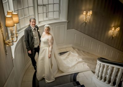 The Reception: The newly wed couple on the d'Angleterre staircase.