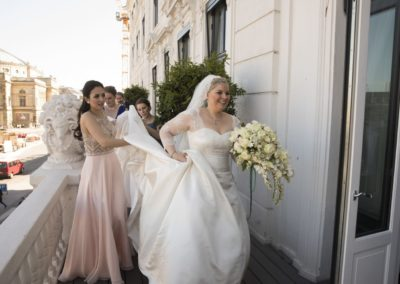 The Reception: The bride and the bridesmaids on the d'Angleterre wedding suite terrace.
